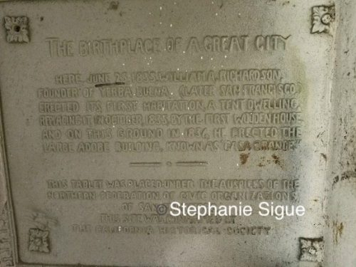 Plaque marking the Richardson residence in Yerba Buena, 1835